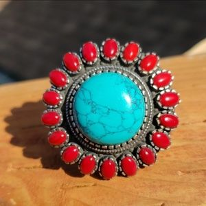 Turquoise Coral Sterling Silver Ring Sz 10.25